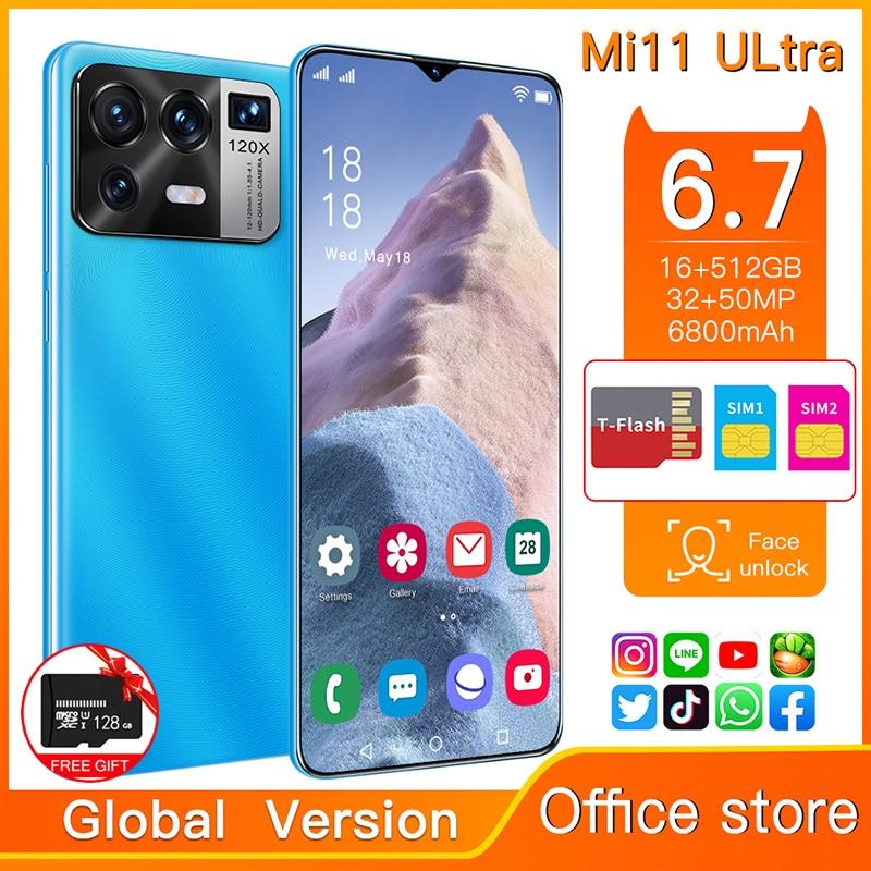 Смартфон глобальная версия Mi11 Ultra, 6,7 дюйма, Android 11,0, 6800 мАч, 16 ГБ + 512 ГБ, разблокированный мобильный телефон с поддержкой Google
