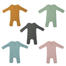 2021 New Baby Spring Autumn Jumpsuits Infant Baby Boy Girl Bodysuit Button Romper Long Sleeve Solid