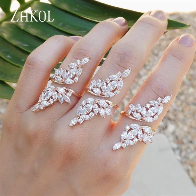 ZAKOL Винтажное кольцо золотого цвета с кристаллом циркония, открытые кольца с крыльями, украшения на палец для женщин и мужчин, подарок FSRP232
