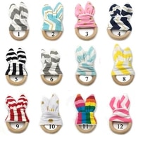 ears silicone teether wooden rabbit ring 1pc bpa free accessories teething toys food grade bpa free baby teethers