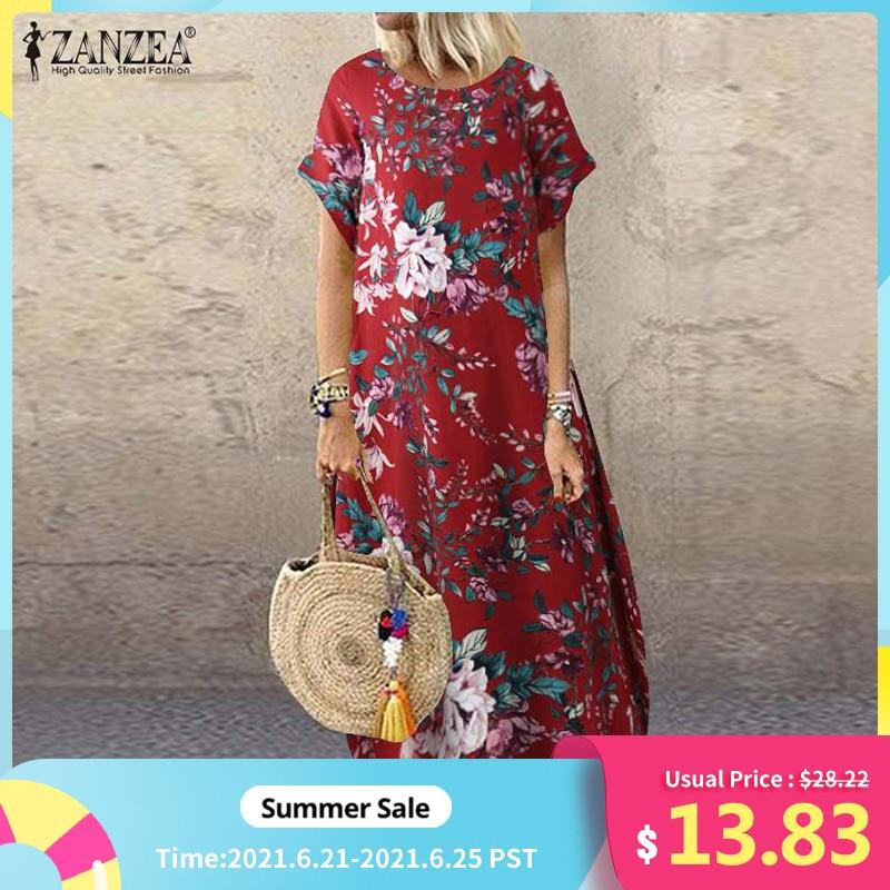 AliExpress - ZANZEA 2021 Fashion Summer Beach Dress Women's Printed Sundress Casual Short Sleeve Maxi Vestidos Female Floral Robe Oversized
