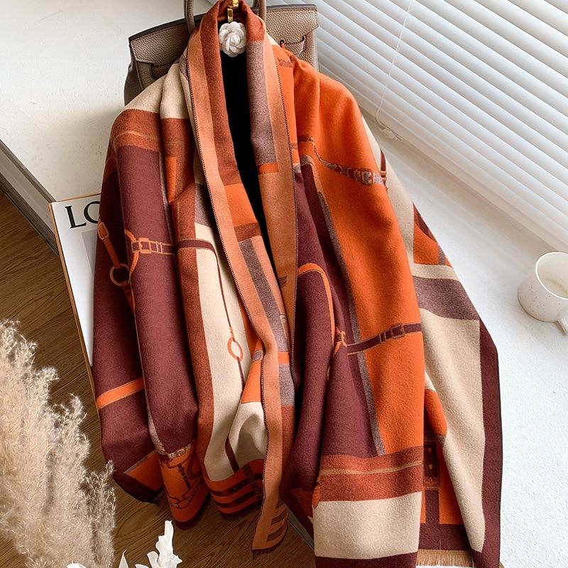 Longue écharpe en cachemire imitant la mode pour femme, châle imprimé, Bandana épais et chaud pour l'hiver, 185x65cm