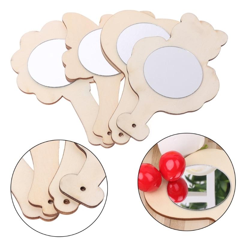 DIY White Wood Mold Mirror Painting Handmade Craft Kids Toys Trinket Material