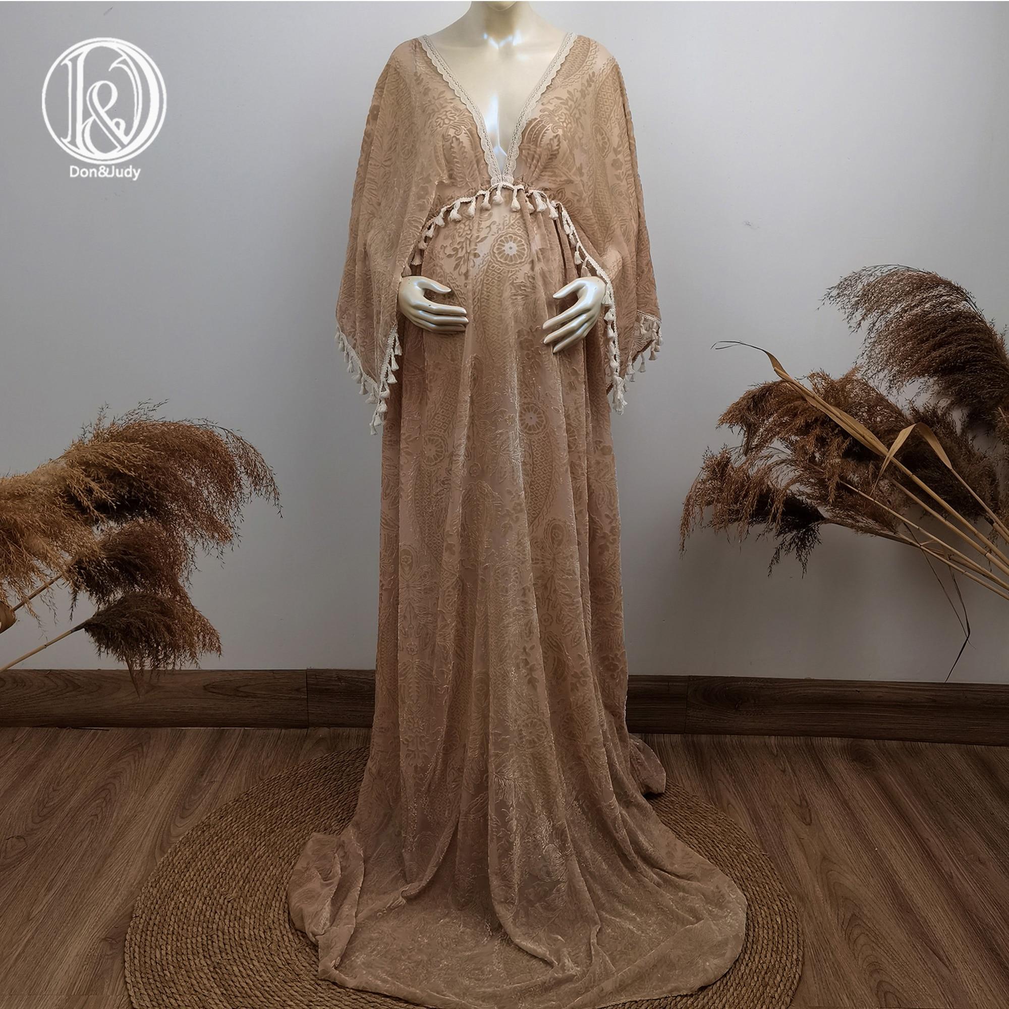 Don&Judy Khaki Maternity Dress For Photo Shoot V-neck Velvet Printing Pregnant Women Photography Party Prom Dress Baby Shower