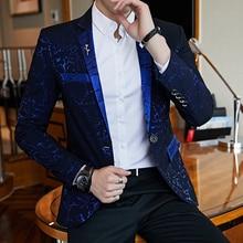 Luxury Party Prom Shinny Yarn Wine Red Blue Black Contrast Collar Dress Dinner Blazer Homme Slim Fit Suit Coat Jacket