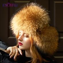 ENJOYFUR Real Fox Fur Women Winter Hats Earflap Warm Fur Patchwork Genuine Leather Caps Female Thick Russian Bomber Hats