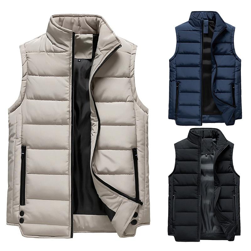 Мужской зимний жилет на молнии, брендовый мужской жилет, куртка, жилет, ультралегкое пальто, толстое пальто, зимняя верхняя одежда