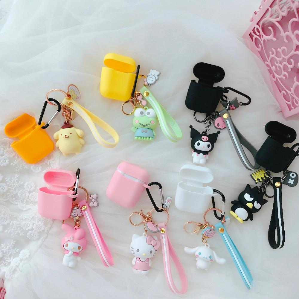 Fashion Cartoon Animal Sanrio Wireless bluetooth headset Case For Airpods 2 1 Japan Cute 3D Doll Keychain Soft Earphone Cover