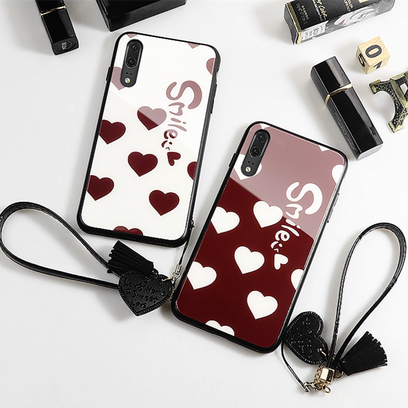 Do Samsung A31 A21S A51 71 5G A01 A11 A21 przypadku mała miłość serce twarde szklana pokrywa dla Samsung A10S A20 A20S A30 A30S A40 A50S