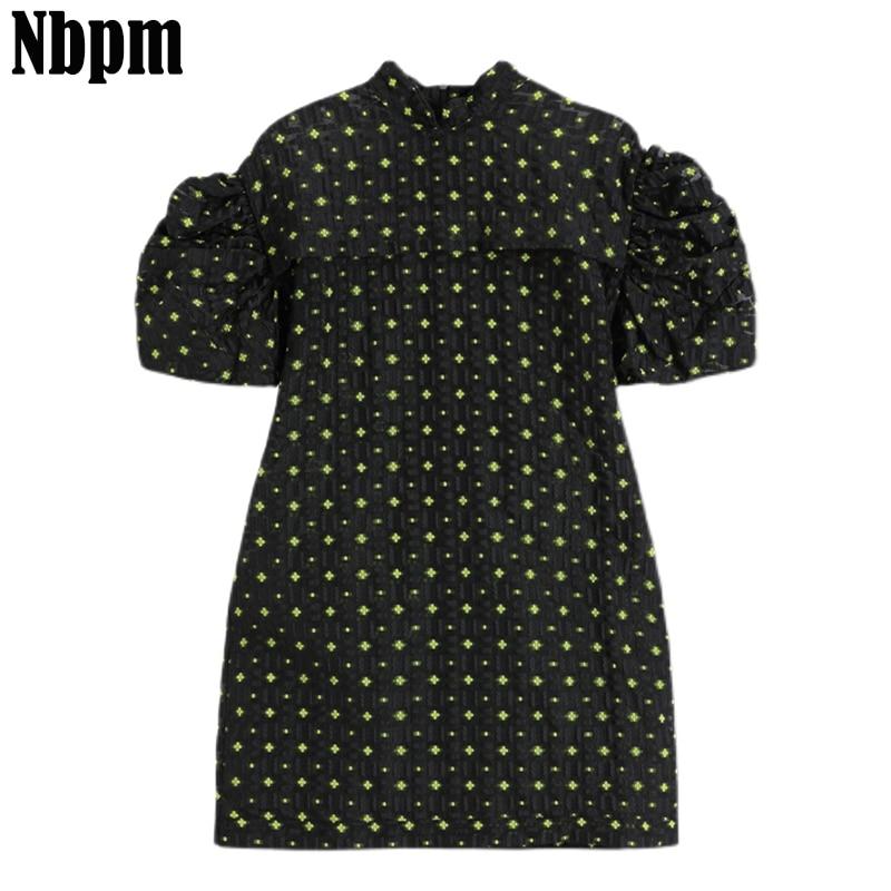 Women Dresses Summer 2021 Sexy Jacquard Boho Dress Puff Short Sleeve Mini Dress Chic Sundress Robe R