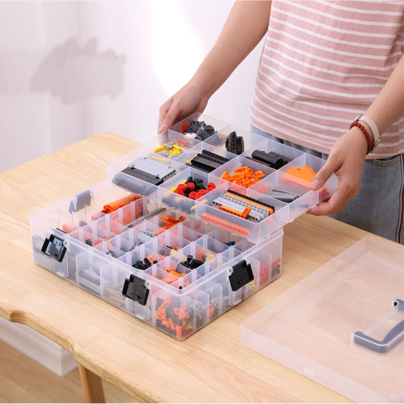 Lego-مكعبات بناء بلاستيكية شفافة للأطفال ، حاوية تخزين كبيرة السعة ، منظم موفر للمساحة