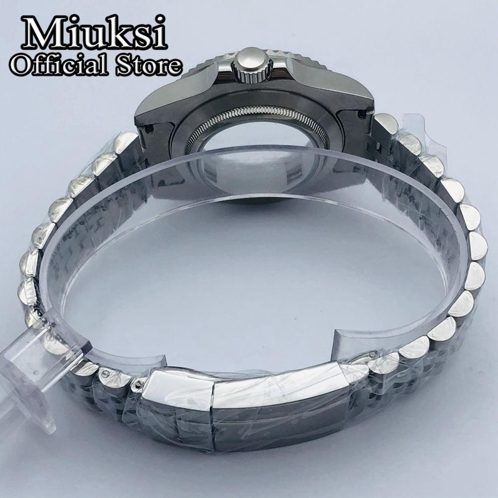 Miuksi 40mm sapphire glass jubilee bracelet watch case fit NH35 NH36 ETA 2836,Miyota 8205 8215 821A,Mingzhu DG2813/3804 movement enlarge