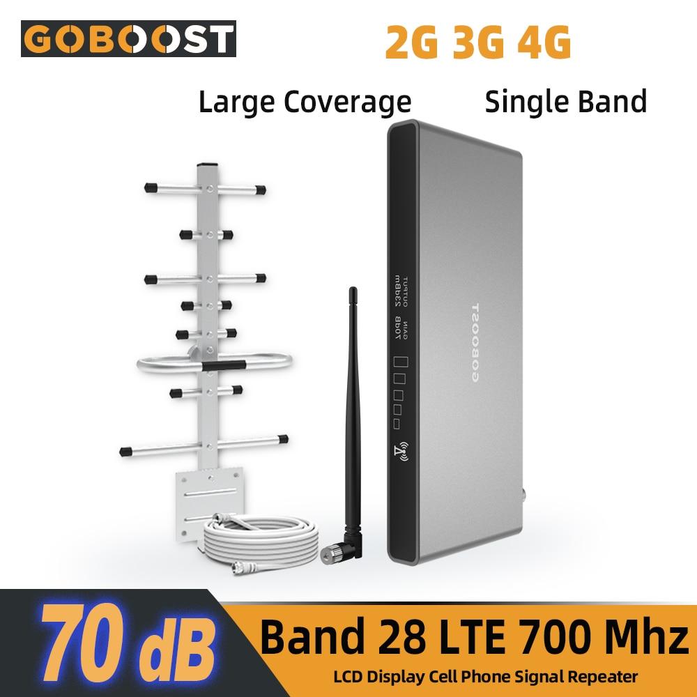 Усилитель сигнала GOBOOST LTE 700 МГц, антенна 4G, усилитель сигнала Band28, мобильный сотовый репитер 3g 70 дБ, сетевой усилитель с высоким коэффициенто...