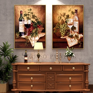 Retro Champagne Grape Wine Canvas Painting Restaurant Bar Wall Art Posters Prints Pictures For Dining Room Home Kitchen Decor