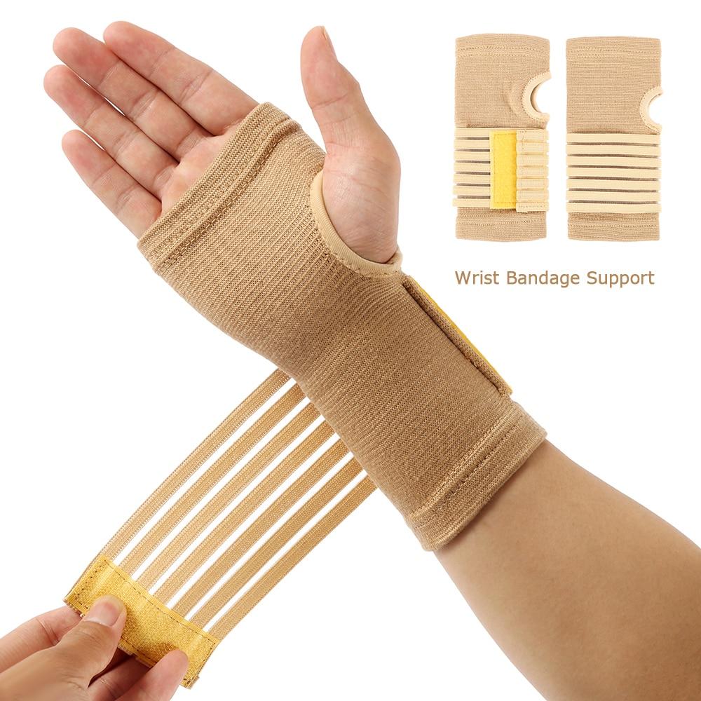 2pcs Elastic Bandage Wrist Guard Support Arthritis Band Belt Outdoor Carpal Tunnel Hand Brace Sports Safety Wristband Protect