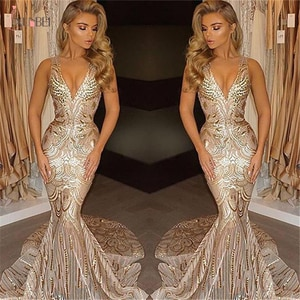 Real Photos Long Luxury Mermaid Evening Dresses With Sequins Dresses Long Train Sexy V Neck Party GownsRobe De Soiree Longue