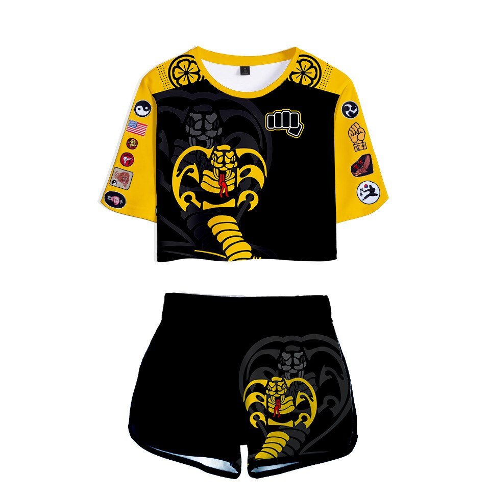 Ladies suit Cobra Kai 3D Tracksuits The Karate Kid Two Piece Set Sexy Short Top+Middle Waist Shorts Lady Fitness Sport suit Girl