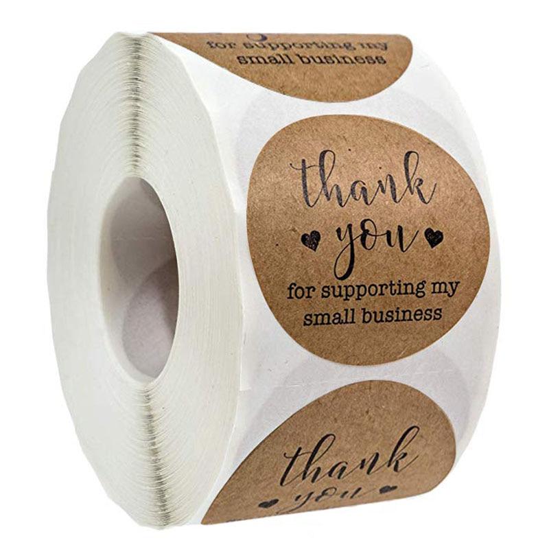 500 etiquetas por rollo redondo Kraft gracias por tus pegatinas de negocios sello etiqueta decoración de Navidad pegatinas pegatina de papelería