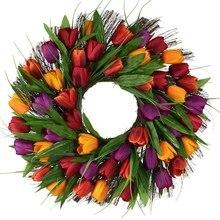 BEAU-tulipe couronne porte couronne fleur artificielle tulipe florale brindille porte couronne été couronne pour porte avant couronne
