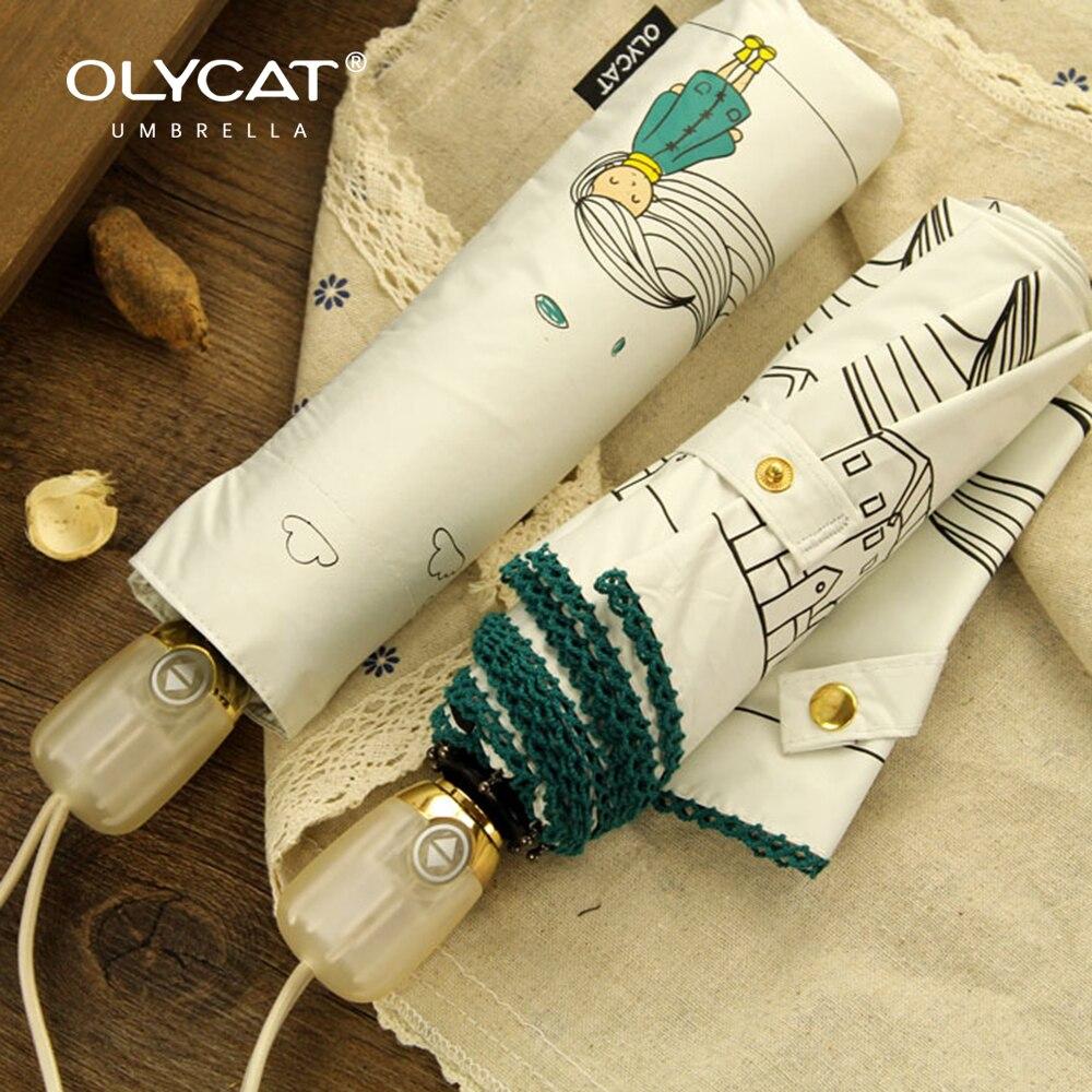 Женский автоматический складной зонт OLYCAT, зонтик от дождя Солнечный зонт с защитой от ультрафиолета в Корейском стиле, 8 к