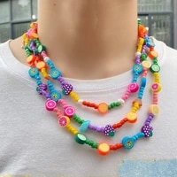 2021 summer bohemia new female colorful soft ceramic rice beads fruit butterfly stone beaded necklace smiley bear pendant strand