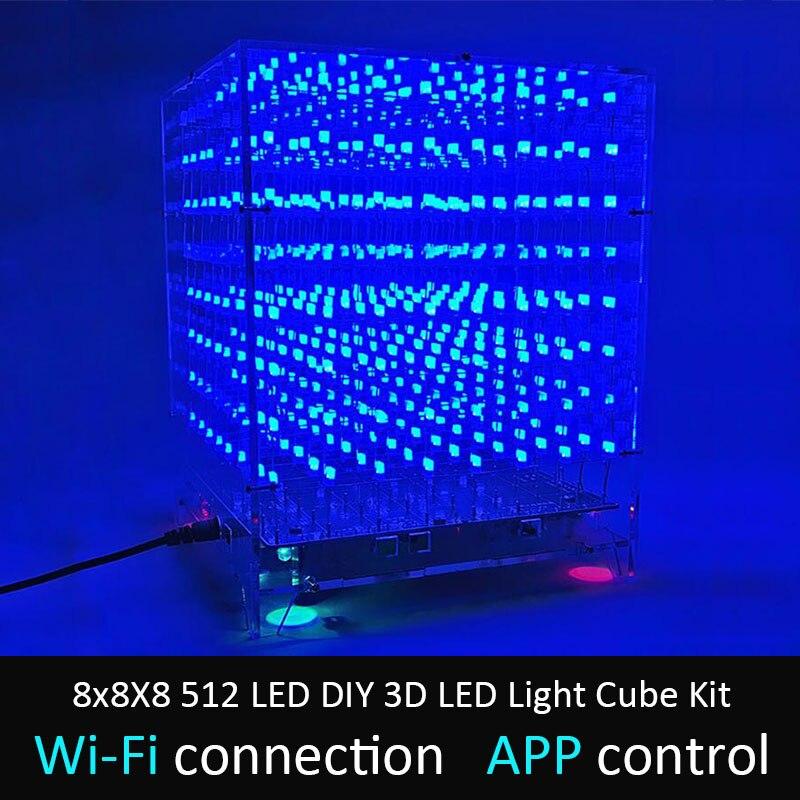 LEORY-مكعب إضاءة LED ثلاثي الأبعاد ، 8x8X8 512 ، مجموعة مكعبات إضاءة ، wi-fi متصل ، تطبيق التحكم ، طيف الموسيقى ، شاشة LED ، معدات دائرة MP3 DAC