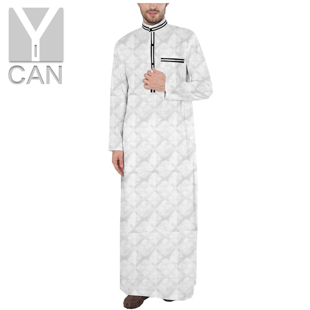 Y-CAN  Men's Jubba Thobe Muslim Fashion Texture Robe Long Sleeve Saudi Arab Thobe Jubba Man Kaftan Islamic  Clothing Y201012