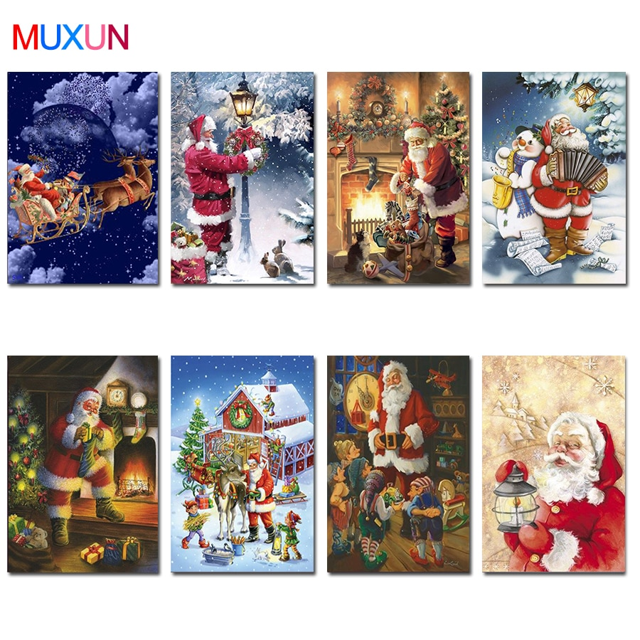 5D Diy Square / Round Drill Diamond Painting Christmas Snowman 3D Embroidery Cross Stitch Santa Claus Home Decoration Gift Lx717