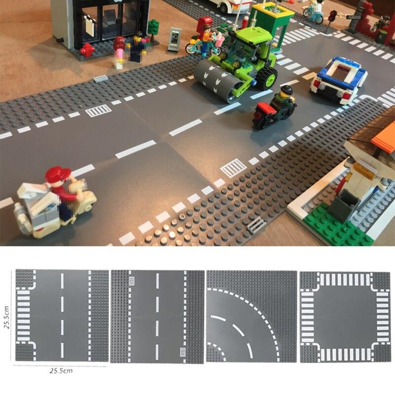 Plaque de route droite Crossroad courbe t-jonction blocs de construction pièces briques Base Compatible blocs de ville plaque de Base jouets