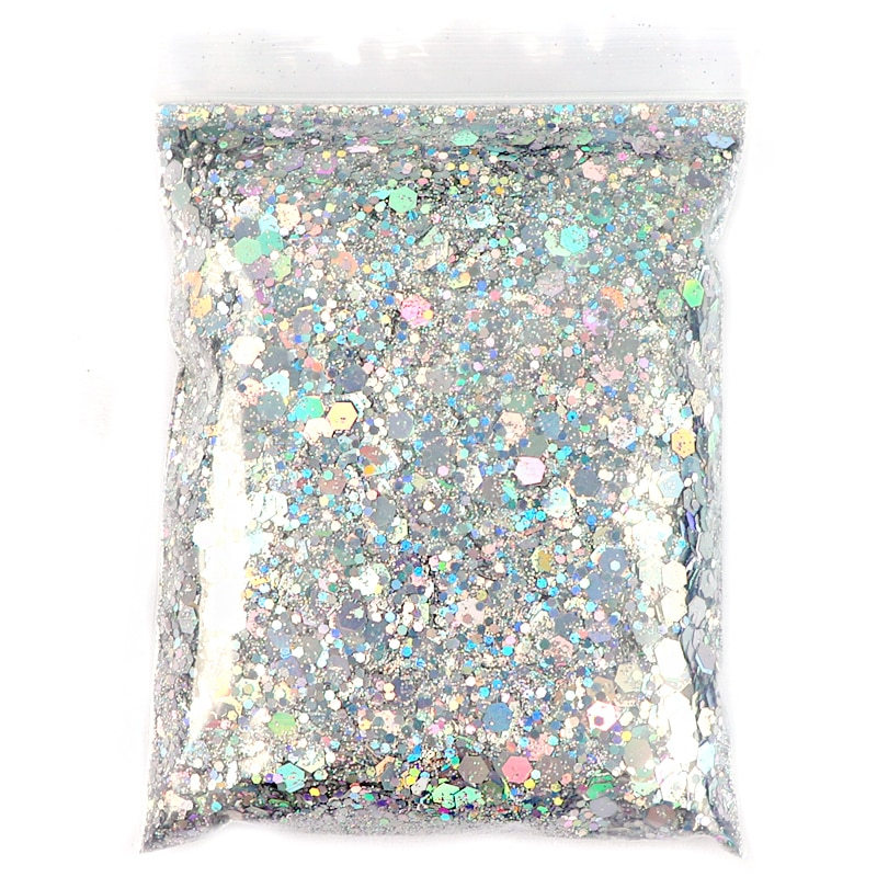 50G Holographic Mixed Hexagon Shape Chunky Nail Glitter Silver Sequins Laser Sparkly Flakes Slices M