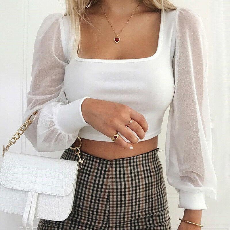 Top Sexy para mujer, camisas cortas con transparencias, camisa de manga larga de malla Lisa Retro para mujer, blusa, ropa para mujer 2019
