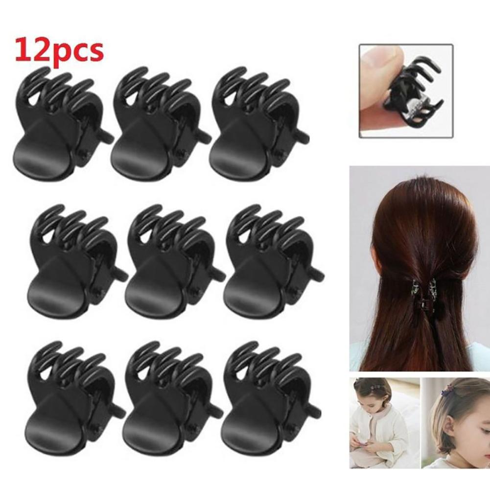 12 Uds. De plástico negro Mini pinza para el pelo horquilla accesorio de estilo regalo para niños niñas