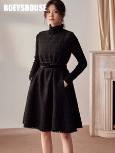 Temperament little fragrance vest dress female autumn and winter new intellectual lace-up slim mid-length skirt
