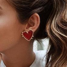 Docona Nette Spezielle Rote Herz Stud Ohrringe für Frauen Geschenk Einfache Design Romantische Ohrringe Weiblichen Schmuck 8182