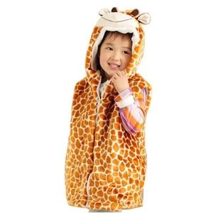 DOUBCHOW Kawaii Children's Cartoon Giraffe Pattern Winter Hooded Vest Coat Kids Girls Cosplay Plush Outwear Vest Fleece Inside