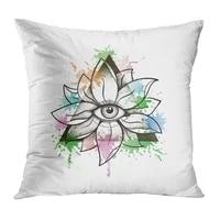 eye throw pillow cushion cover vintage eye lotus flower soft velvet square cushion case couch cover pillowcase for sofa chair