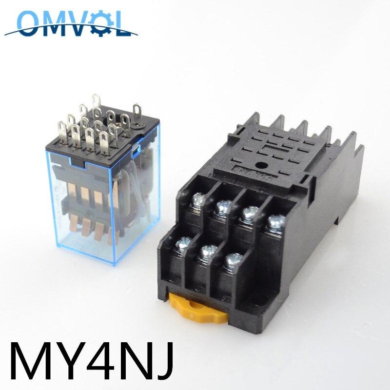 MY4NJ 14 Pin 5A со светодиодным разъемом PYF14A, промежуточное реле