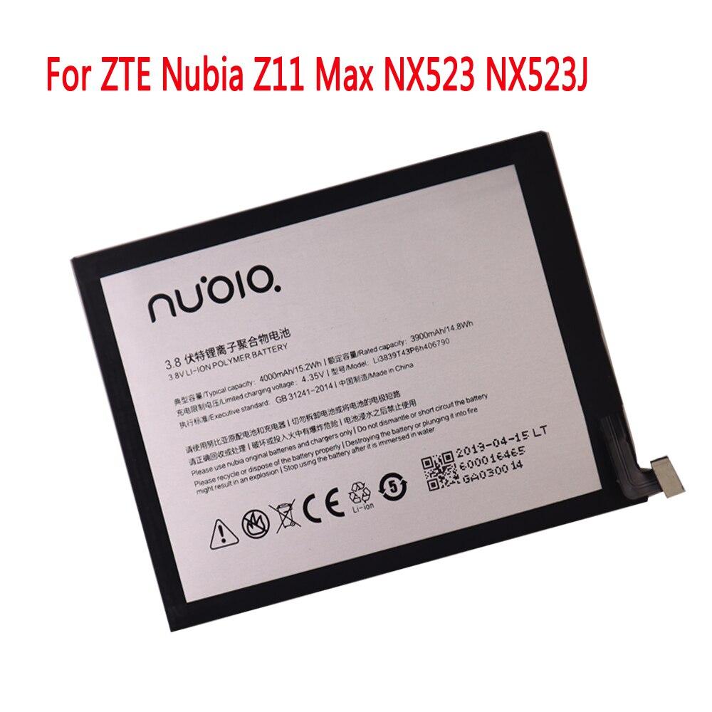 Original batterie 3,8 V 4000mAh Li3839T43P6h406790 Für ZTE Nubia Z11 Max NX523 NX523J Batterie