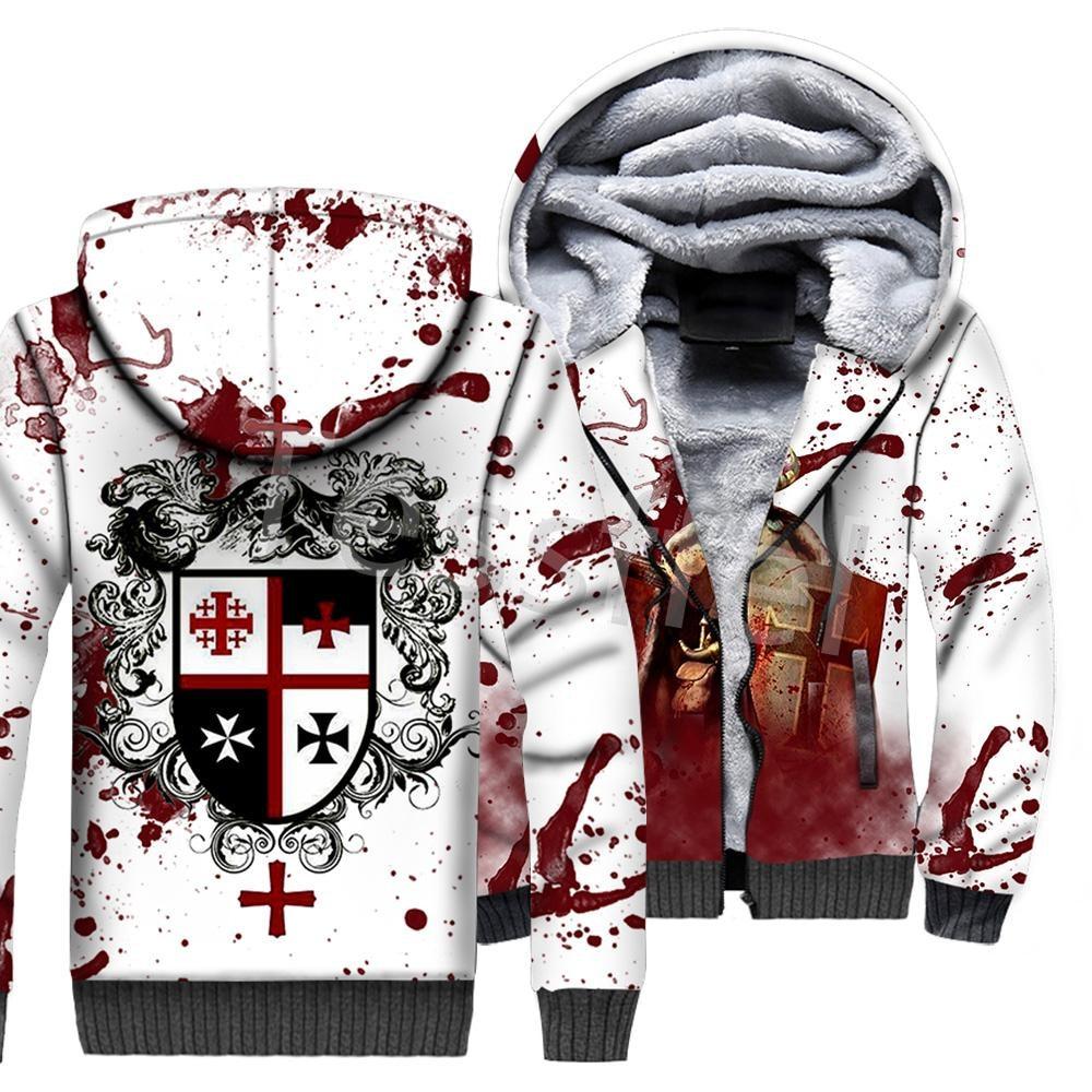 Tessffel Cross Templar Knights 3D Printed Winter Hoodie Fleece Warm Hood Thick Coat Zipper Men's Hoodies Jacket Style-1
