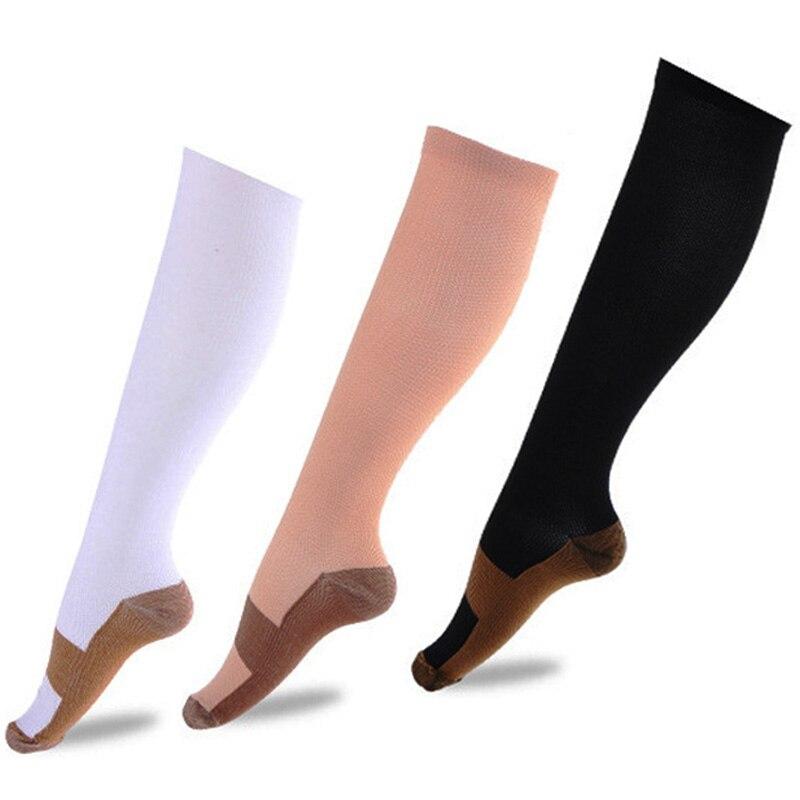 1pair Copper Infused Compression Socks Graduated Men Women Patchwork Long Socks