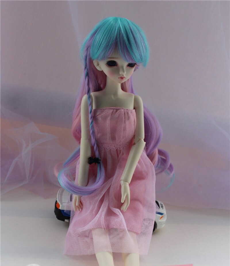 1/3 1/4 1/6 Peluca de muñeca BJD SD de alambre largo ondulado colorido con trenza estilo de moda BJD Peluca de súper pelo de alta temperatura