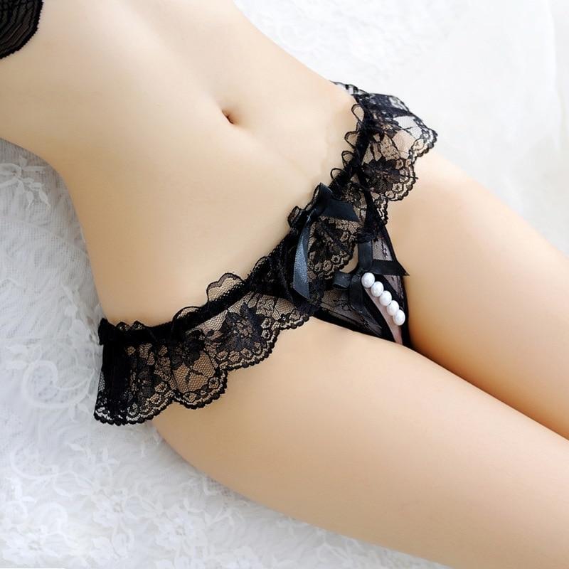 Plus Size Lace Panties Women Sexy Transparent Underwear Pearl Massage Culotte Femme Open Crotch Thon
