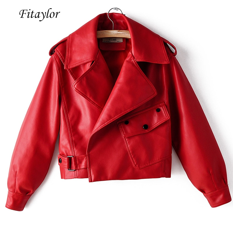 Fitaylor New Autumn Women Faux Leather Jacket Pu Motorcycle Biker Red Coat Turndown Collar Loose Str