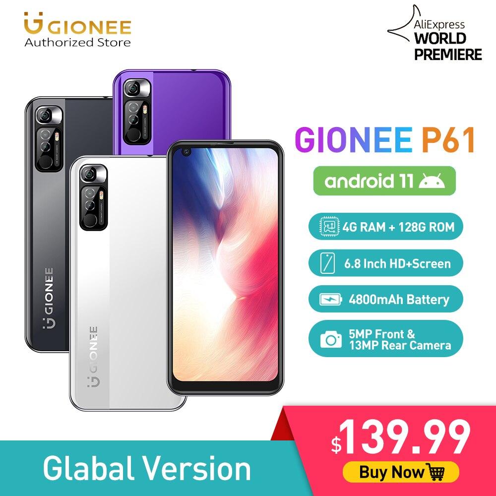 Смартфон GIONEE P61, 6,8 дюйма, HD, IPS, Android 11, Восьмиядерный Helio P60, 4 Гб ОЗУ, 128 Гб ПЗУ, сотовые телефоны, задняя камера 13 МП, ма
