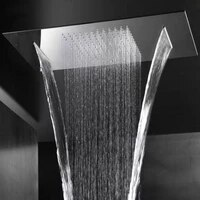 rain shower waterfall 304 stainless steel shower head black chrome showerhead celing mounted bathroom showers panel 550x230x18mm