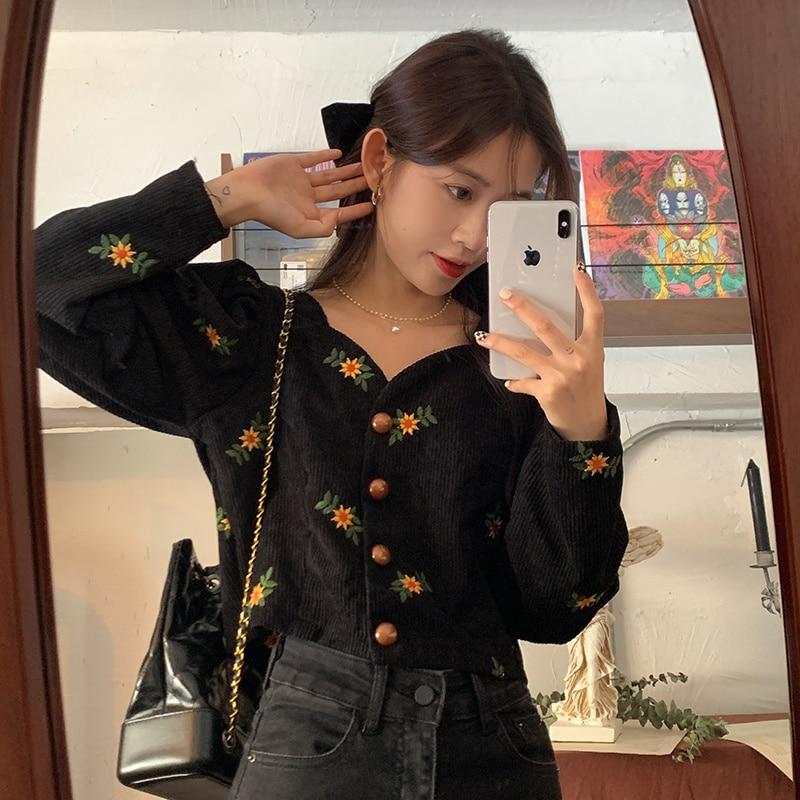 Corduroy  Women Shirts Autumn 2021 New French Embroidery Floret Design Bubble Long Sleeve Top Women'