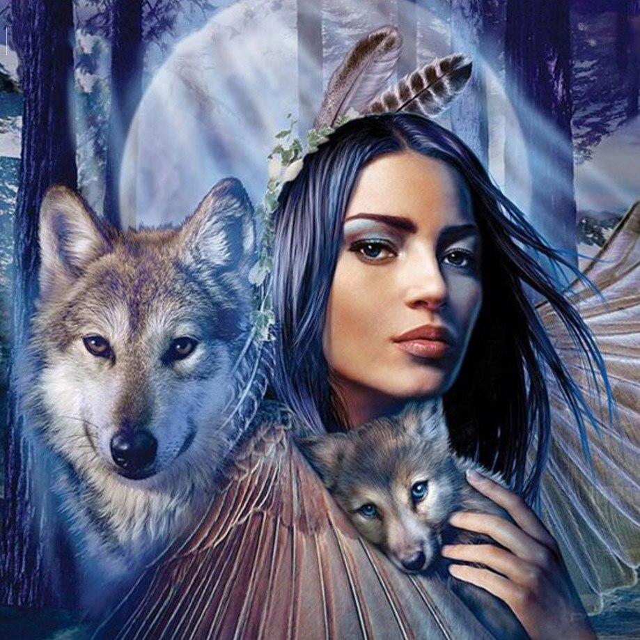 Diamond Painting Animal Wolf Woman Diamond Embroidery Full Pack 3D DIY Diamond Mosaic Decor Rhinestones Needlework