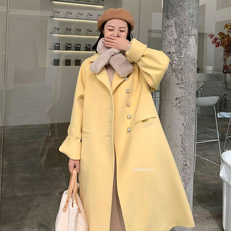 معطف صوف كوري أنيق للنساء ، معطف طويل أصفر ، ملابس خارجية ، مقاس كبير ، مجموعة خريف 2021 الجديدة