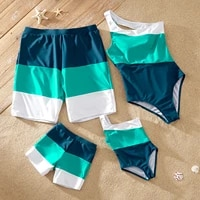 patpat 2021 new arrival summer family look color block one piece one shoulder matching swimwears