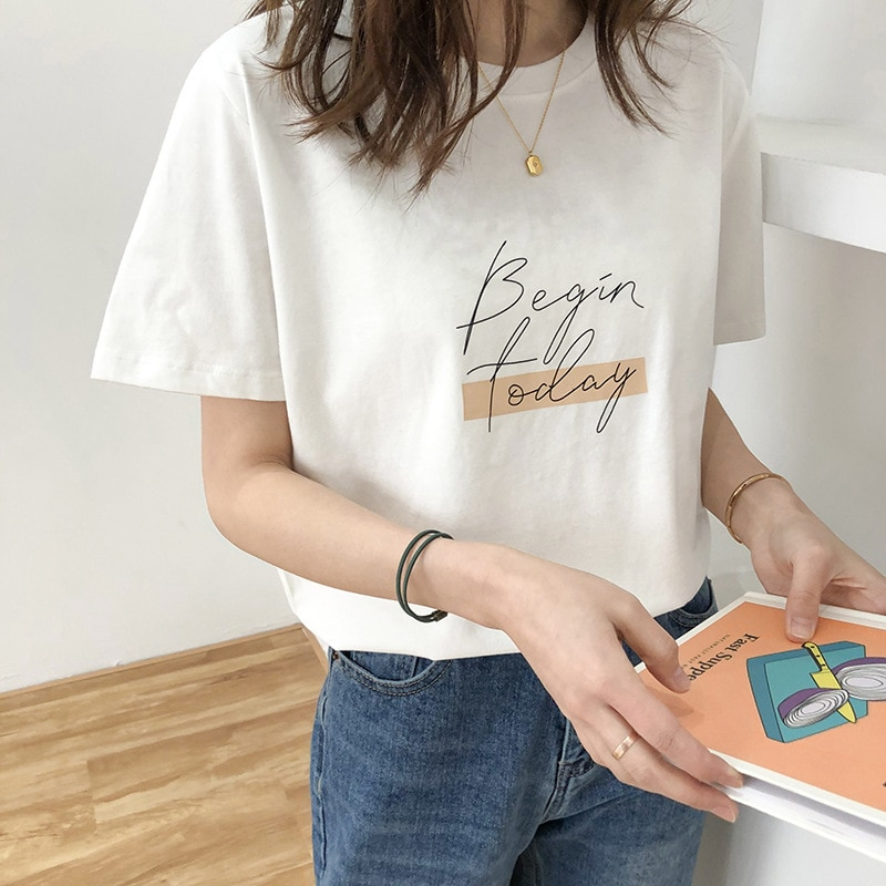 Letra mujer Camiseta cuello redondo manga corta suelta Casual puro algodón 2020 niñas primavera grueso pulóveres mujer moda ropa